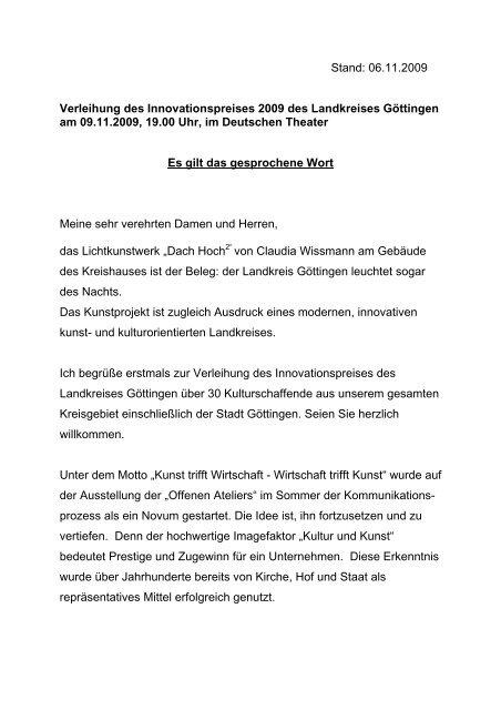 Schlusswort Wirtschaftsförderung Region Göttingen Gmbh