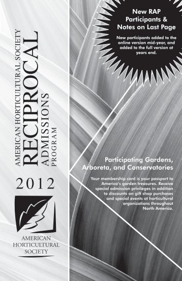Reciprocal Admissions Program - American Horticultural Society