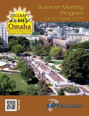 Summer Meeting Program - American Association of Physics Teachers