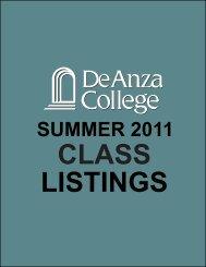 Class Schedule Summer 2011 - De Anza College
