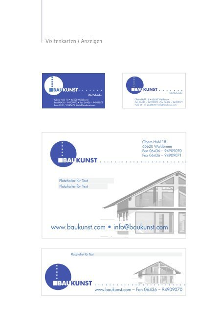 Visitenkarten Anzeigen