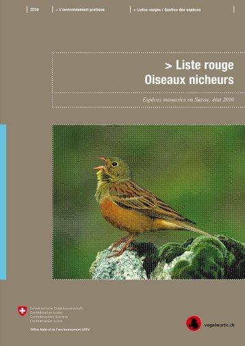 Liste rouge oiseaux nicheurs - admin.ch