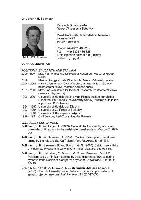 Dr. Johann H. Bollmann 14.4.1971, Bremen ... - CellNetworks