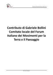 Contributo di Gabriele Bollini Comitato locale del Forum Italiano dei ...