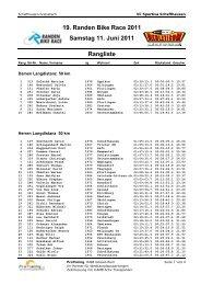 19. Randen Bike Race 2011 Samstag 11. Juni 2011 Rangliste