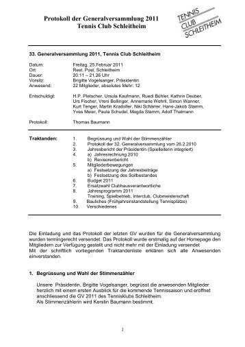 Protokoll GV 25. Februar 2011 - Tennisclub Schleitheim
