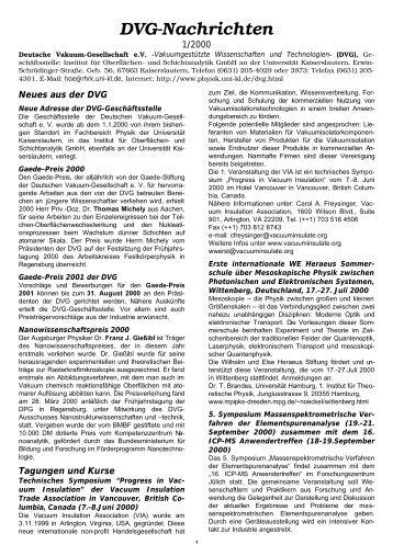 DVG-Nachrichten - Fachbereich Physik der Universität Kaiserslautern