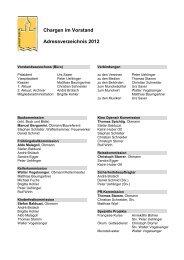 Chargen im Vorstand Adressverzeichnis 2012 - Munot