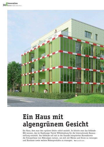 Ein Haus mit algengrünem Gesicht - Plattform Zukunft Bau