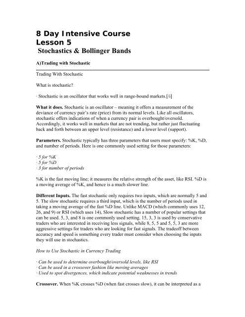 Lesson 5: Stochastics & Bollinger Bands - Megah Tama Berjangka