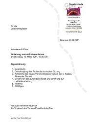 Einladung zum Aufnahmeplenum am Dienstag ... - Projektschule Graz