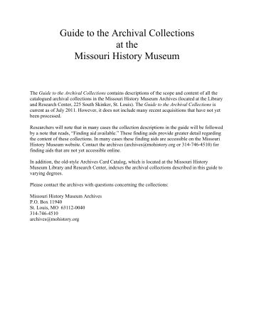 Guide to the Archival Collections.pdf - Missouri History Museum