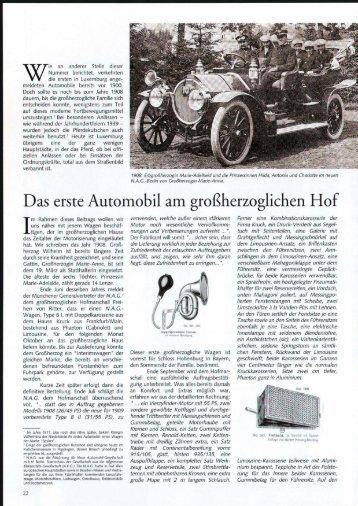 Das erste Automobil am großherzoglichen Hof - Ons Stad