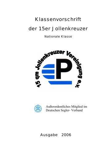 Klassenvorschrift der 15-qm-Jollenkreuzer-Klasse - 15er Jollenkreuzer