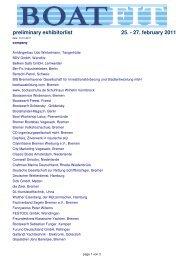 preliminary exhibitorlist 25. - 27. february 2011 - Boatfit