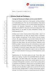 Keine Panik bei Fehlalarm - Messe Bremen