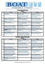 Vortragsprogramm 25. - 27. Februar 2011 - Boatfit