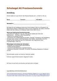 Schulsegel AG Praxiswochenende - Yacht-Club Niedersachsen eV