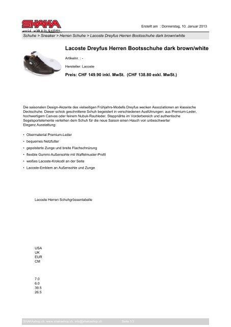 quality design da6cb 7cded Lacoste Dreyfus Herren Bootsschuhe dark brown ... - SHAKAshop.ch