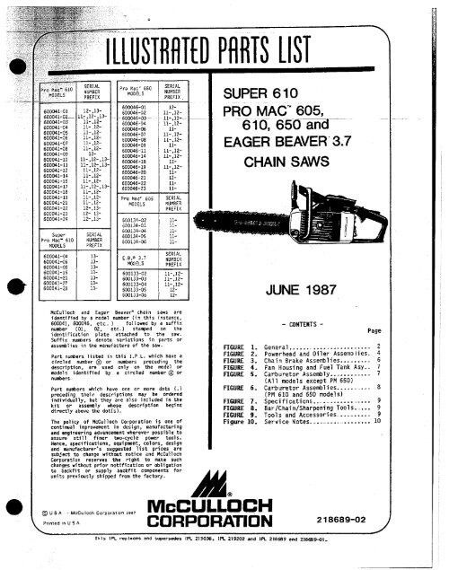 McCulloch Chainsaw Parts List 218689-02 - Barrett Small Engine