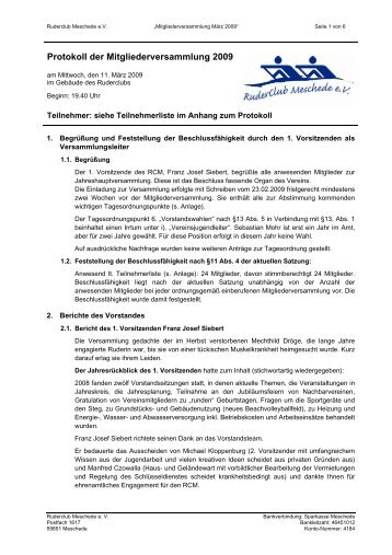 Protokoll der Vorstandssitzung - Ruderclub Meschede eV