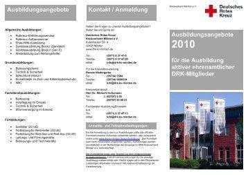 Flyer Lehrgangsangebot 2010 - DRK Kreisverband Minden e.V.