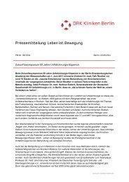 Pressemitteilung: Leben ist Bewegung - DRK Kliniken Berlin