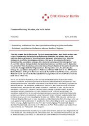 Pressemitteilung: Wunden, die nicht heilen  - DRK Kliniken Berlin
