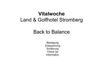 Vitalwoche Land & Golfhotel Stromberg Back to Balance