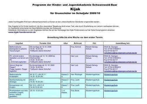 Programm der Kinder- und Jugendakademie Schwarzwald-Baar für ...