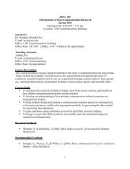 JRNL 405 Introduction to Mass Communication Research Spring ...