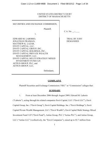 SEC Amended Complaint in this matter - Securities and Exchange ...