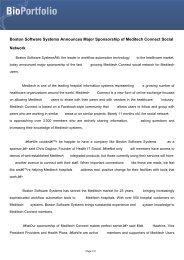 Boston Software Systems Announces Major ... - BioPortfolio