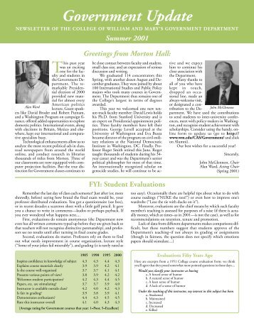 Government Update Summer 2001 - College of William and Mary