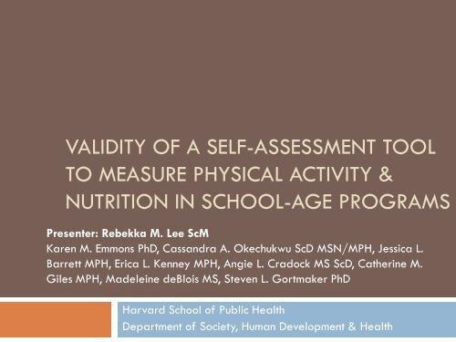 validity of a self-assessment tool to measure - OBSSR