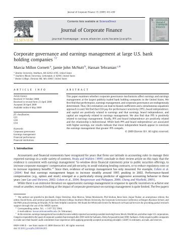 earnings management and corporate governance in The industrial revolution followed by globalization and multi-nationalization of businesses has enhanced the need for best practices of corporate governance this paper examines the influence of corporate governance practices on earnings management specifically, the core objective of this study is.