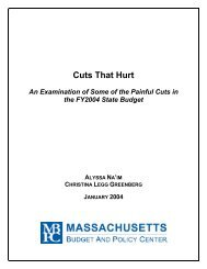 Cuts That Hurt - Massachusetts Budget and Policy Center