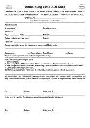 Anmeldung zum PADI-Kurs - pptv.at