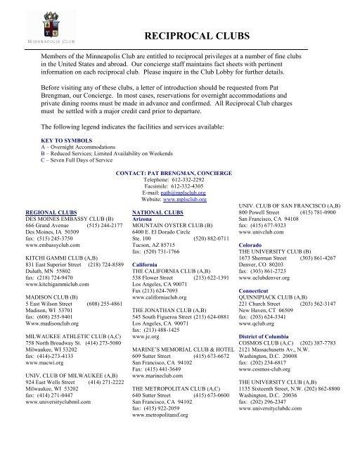 Reciprocal Clubs - Minneapolis Club