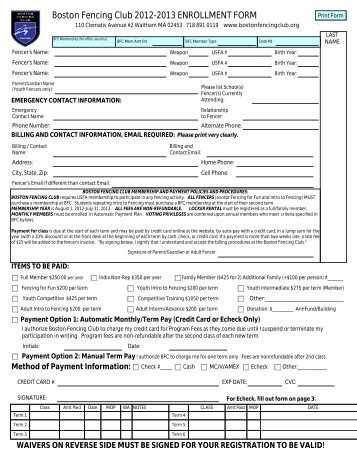Boston Fencing Club 2012-2013 ENROLLMENT FORM