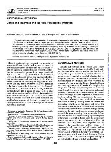 Coffee and Tea Intake and the Risk of Myocardial Infarction