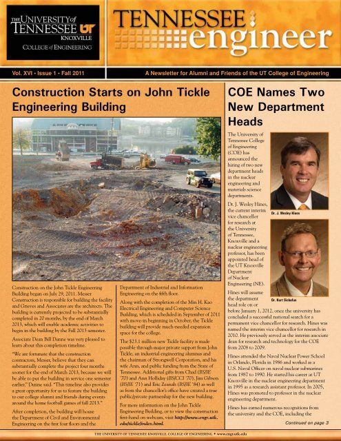 Fall 2011 - College of Engineering - The University of Tennessee ...