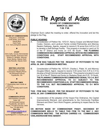 March 22, 2001 Action Agenda - Fayette County Government