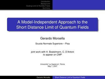 A Model-Independent Approach to the Short Distance Limit of ...