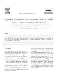 Comparison of oxide measurement techniques applied to Ti6Al4V