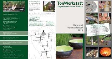 Kurse und Veranstaltungen 2013 - TonWerkstatt-Oegenbostel