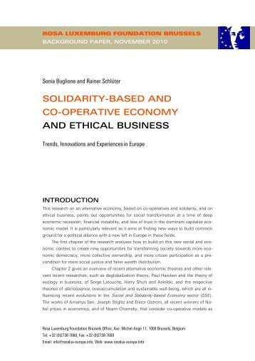 Alternative, solidarity and co-operative economy, ethical business ...