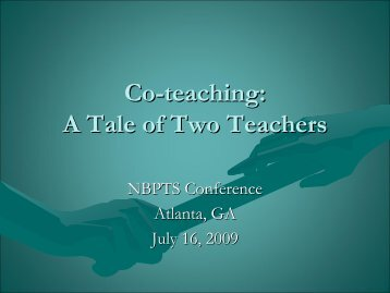Co-Teaching: A Tale of Two Teachers - National Board for ...