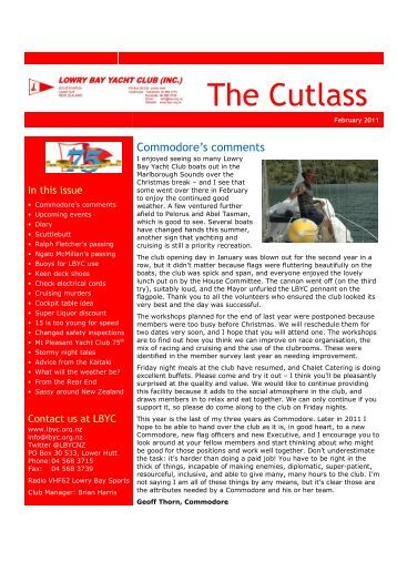 The Cutlass - Lowry Bay Yacht Club