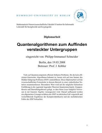Quantenalgorithmen zum Auffinden versteckter Untergruppen